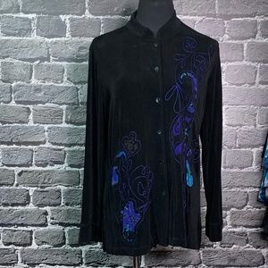 Chico's Travelers Black Topper Blue Print GORGEOUS
